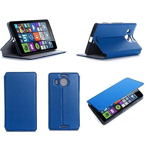 Etui luxe Microsoft Lumia 950 XL 4G/LTE (ex Nokia) Dual Sim bleu Ultra Slim Cuir Style avec stand - Housse Folio Flip Cover coque de protection Microsoft 950 XL bleue 5.7 pouces - Accessoire XEPTIO case