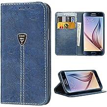 Coque S6, gel Housse Etui Portefeuille à rabat Cuir Fermeture Magnétique Protection Galaxy S6 Case ecriture Béquille Coque S6 en ultra slim anti choc pour Samsung Galaxy S6 bleu