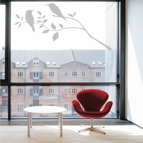 INDIGOS w436Joschi, Wandaufkleber, Motiv: Vögel auf AST 80 x 56 cm Decorazione in vetro, Argento