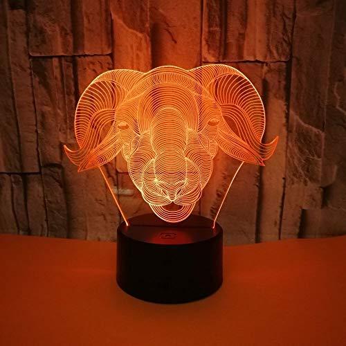 3D LED Luz de Noche Ilusión óptica Lámpara La cabra 7 colores con control remoto Decoracion led Visual Luz de noche para niños