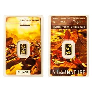 1g Argor Heraeus Goldbarren 1 Gramm 9999 Feingold mit Zertifikat Herbst Following Nature Autumn