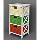Cómoda mesa auxiliar blanca de 72 cm de alto para baño, pasillo, cocina, niños con tres cestas en ratán