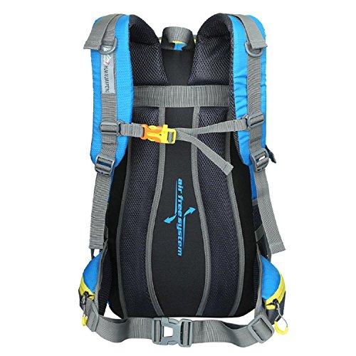 HWJF Großer Kapazitäts-45L Beutel-Spielraum-Schulter-Beutel-Sport-Spielraum-Bergsteigen-kampierender Rucksack für Männer und Frauen Orange