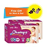 #5: Premium Champs High Absorbent Premium Pant Style Diaper (Pack of 2) (Free pair of Secret and Loafer socks)| Premium Pant Diapers | Premium Diapers | Premium Baby Diapers | anti-rash and anti-bacterial diaper | (X-Large, 46)