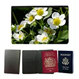 PU Pass Passetui Halter Hülle Schutz // M00238284 Strawberry Blumen Erdbeerpflanze // Universal passport leather cover