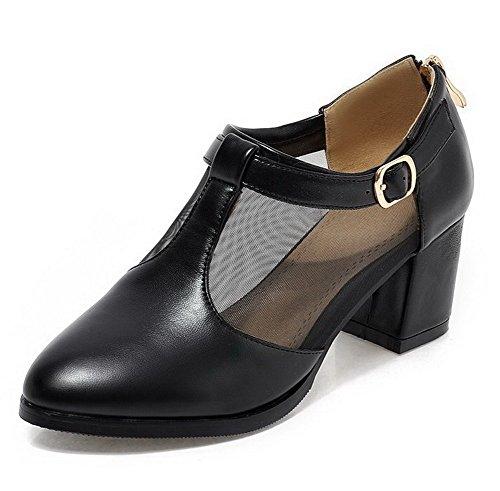 Voguezone009 Femme Boucle Glitter Chaussures À Punta Punta Fermé Charnière Du Milieu Du Talon Danseurs Noirs