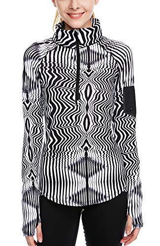 icyzone Damen Sport T-Shirt Langarm Laufshirt - 1/2 Reißverschluss Fitness Sweatshirt Laufjacke Running Tops (M, Zebra)