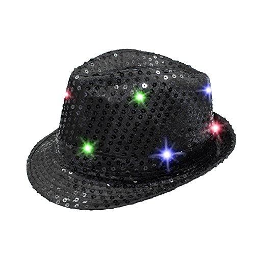 Namsan LED Jazz Hat/Cap Blinken Dance Hat Helle Beleuchtung Licht Up Pailletten Hat Pailletten Show Figuren Darstellende Bling Hüte für Party mit 9LED schwarz schwarz