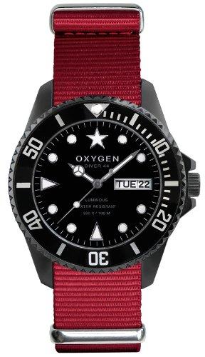 Oxygen - EX-D-MBB-44-RE - Diver - Montre Homme - Quartz Analogique - Cadran Noir - Bracelet Nylon Rouge