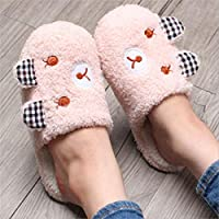 WARRT Cotton Slippers Winter Indoor Women Slippers Warm Slipper Flat Shoes Soft Home Slippers Woman Snowflake 38 Bear Pink