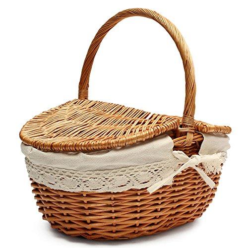 ounona Weidenkorb/Einkaufskorb Aufbewahrungskorb Weide Picknick Korb mit Deckel und Griff (Weidenkorb Mit Liner Kleine)