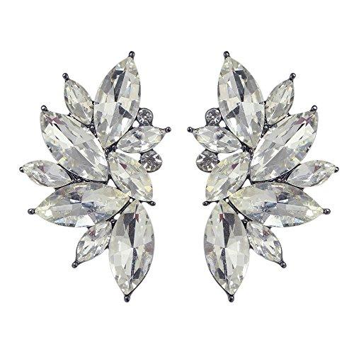 Feelontop® stilvolle Design Kostüm Schmucksachen Neue bunte Rhinestone Blumen Ohrring Bolzen mit Schmucksache Beutel (Weiß)