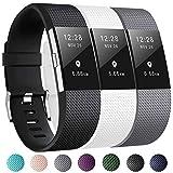 Zekapu pour Fitbit Charge 2 Bracelet, Charge 2 Sport Remplacement Bracelet avec Boucle en Acier Inoxydable Classique pour Fitbit Charge2, Petit (5.5'- 6.7') Noir/Blanc/Gris