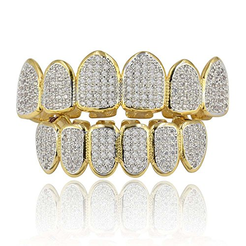 ANLW Grillz Hiphop Teeth Set (Oben & unten) Microset Diamond Fangs Vampire Teeth Men/Women Gifts,Gold Fang Grillz Set