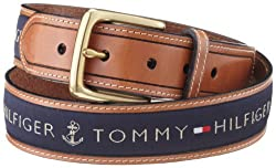 Tommy Hilfiger Mens Ribbon Inlay Belt,Navy,34