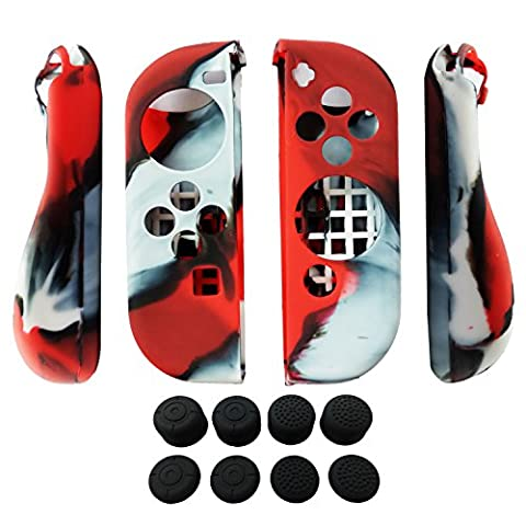 Hikfly 2pcs Silicone Gel Poignée Antidérapant Couverture peau Protecteur Coques Kits pour Nintendo Switch Joy-Con Contrôleurs avec 8pcs Gel de Silicone Poignées de pouce Capsules (Rouge