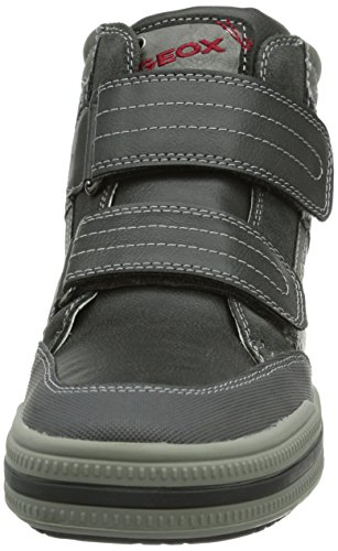 Geox Jr Elvis, Baskets mode garçon Gris (Dk Grey/Red)