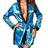 Fenverk Frau Sexy Die Seide Kimono Dressing Puppe Spitze Dessous Bad Robe NachtwäSche V-Ausschnitt Seidig Satin Chemise Nachthemd G-String Elegant Kleid Schlafanzug Nighty Nachtkleid(Blau,XL)