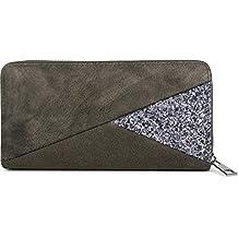 3ba0a6871d19 styleBREAKER sac portefeuille en daim avec paillettes et fermeture éclair,  mélange des matières, porte