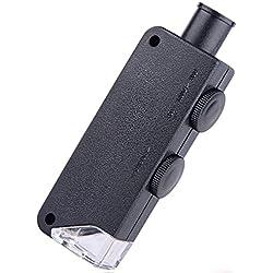 Espeedy Microscopio de bolsillo con luz LED,60-100 x iluminado Mini microscopio del bolsillo de la lupa con luz LED