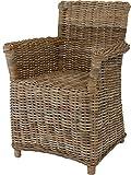Esszimmer-Sessel aus unbehandeltem Rattan - Kobo Grau