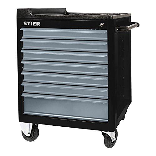 STIER Werkstattwagen BLACK-Edition mit Kunststoffabdeckung, unbestückt - leer, Werkzeugwagen -...