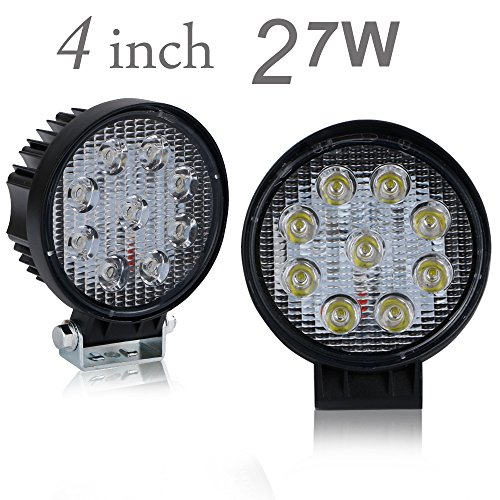 Price comparison product image UNI FILTER 2Pcs 4 Inch 27W Round Spot Beam Led Work Light Driving Fog Lights Reversing Backing Up Lamps For Off-Road Boat Marine 4X4 4Wd Atv Suv Utv Van Truck Motorbike Pickup Tractor 12V-24V