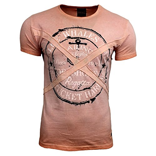 RUSTY NEAL Herren Kurzarm Poloshirt Sommer Print Rundhals Freizeit T-Shirt 6728 Rosa