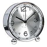 10,2cm Ultra Silencieux en métal classique Petit Réveil, horloge à quartz de...