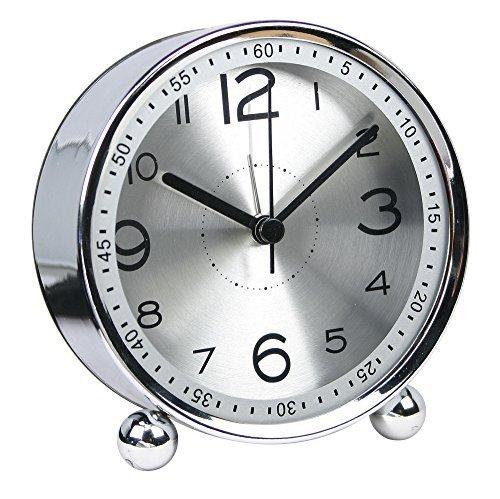 (reloj de mesa silencioso metal Reloj despertador pequeño, estilo retro clásico cuarzo reloj, mesita de noche armario de escritorio reloj despertador de viaje (cs-ac06)