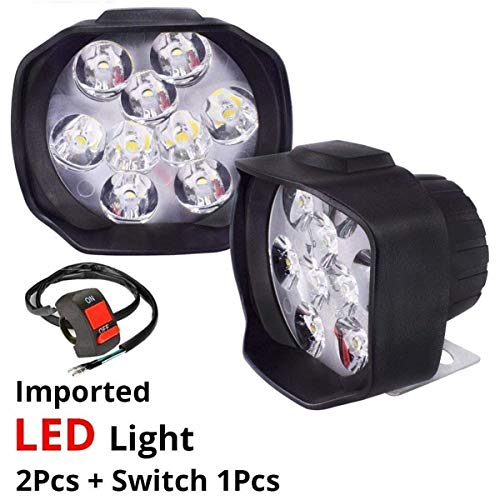 AutoPowerz Imported 9 LED Fog Light for Cars and Bikes (Fog Light Pair with Normal Switch)