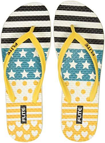 FLITE Women's White Yellow Flip-Flops-7 UK/India (40.67 EU)(FL0309L)