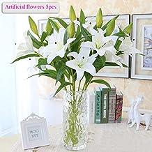 Flores Artificiales, Meiwo 5 Pcs Real Toque Látex Artificial Lillies Flores en Floreros Decoración de Boda / Decoración para el hogar / Parte / Graves Arreglo(Blanco)