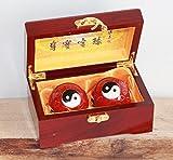 Hochwertige Qi Gong Meditations- Entspannungskugeln Set Nr. 006 Ying Yang in roter Holzbox