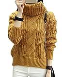Minetom Damen Winter Warmer Rollkragen Strickjacke Mohair Lose Pullover Langarm Strickwaren Tops Sweater Khaki One Size