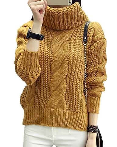 Minetom Damen Winter Warmer Rollkragen Strickjacke Mohair Lose Pullover Langarm Strickwaren Tops Sweater Khaki One