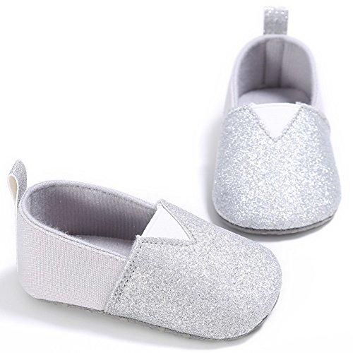 MiyaSudy Baby Mädchen Weichen Sohle Anti Rutsch Pailletten Krabbelschuhe Silber
