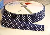 3 m, Marineblau mit weißen Punkten, 30-mm-Schrägband, nützlich in vielen Nähen Wimpelkette, und craft-Projekte (aus Rolle)