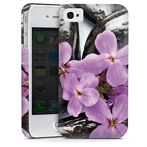 Apple iPhone 5s Housse étui coque protection Lilas Fleur Fleur Cas Premium mat
