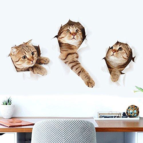 3D Katze Wandtattoos,Katze Wandaufkleber Vinyl Katze Baby Kunstwand für Schlafzimmer Kühlschrank Aufkleber Dekoration Wandbild Kunst - Wandbilder Kühlschrank