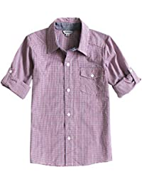 383768748ec8eb Bienzoe Boy  s Cotton Plaid Roll Up Sleeve Button Down Sports Shirts