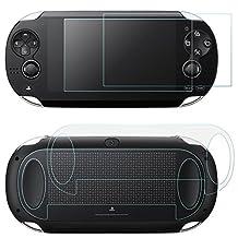 Screen Protector voor Sony PlayStation Vita 1000 met achterzijde, AFUNTA 2 Pack gehard glas voor voorruit en HD Clear PET film voor de achterkant