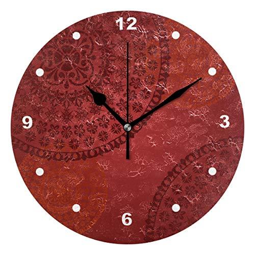 SUNOP Uhr für Kinder, mit Öl Bedruckt, 1 traditionelles florales orientalisches Mandala-Design, Rot, Wanduhren für Wohnzimmer, Schlafzimmer und Küche, Vintage Schreibtisch & Regal Uhren - Schlafzimmer Traditionellen Schreibtisch