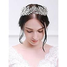 Accesorios para el pelo de novia handmadejewelrylady Laurel Corona Diadema  Tiara Niñas Mujeres boda diadema c8b93f41f003