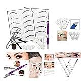 Sharplace Permanent Make-up Augenbraue Tattoo Set, inkl. Tattoonadeln, Tätowieren Stift, Augenbraue Lineal, Pigment Tinte und Pigment Halter Ring, Übungshaut und Bleistift Set