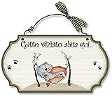 Dekori by Aracne Italy Targhette Country in Legno da Appendere Gatto VIZIATO