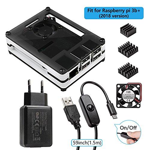 Smraza Raspberry Pi 3 b+ Gehaeuse mit Netzteil 5V 2.5A + 1.5m USB-Kabel mit Schalter Ein/Aus + Lüfter + 3 x Kühlkörper für Raspberry Pi 3 Pi 2 Modell B case(Ohne Raspberry Pi)