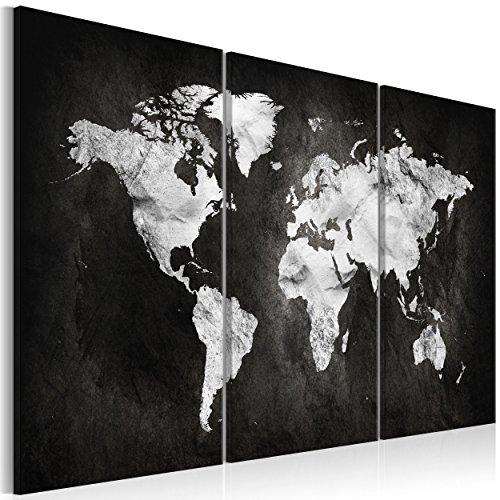 decomonkey Bilder Weltkarte schwarz 90x60 cm 3 Teilig Leinwandbilder Bild auf Leinwand Vlies Wandbild Kunstdruck Wanddeko Wand Wohnzimmer Wanddekoration Deko wgrau Welt Karte Kontinente Landkarte (Landkarte Welt Auf Leinwand)