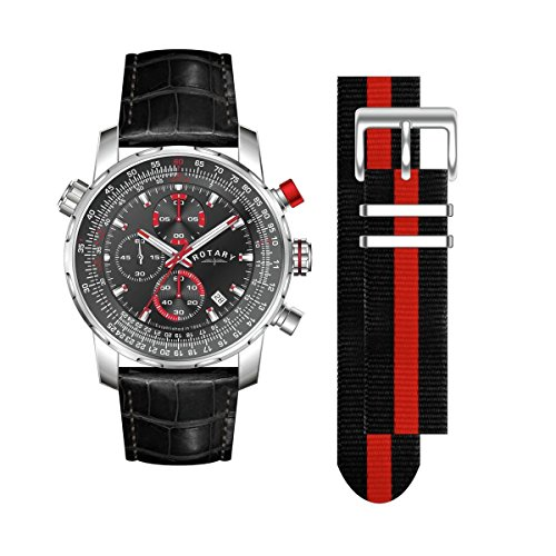 Rotary Herren Chronograph Textil Wechselband Tachymeter GS03641/04/KIT UVP 230EUR