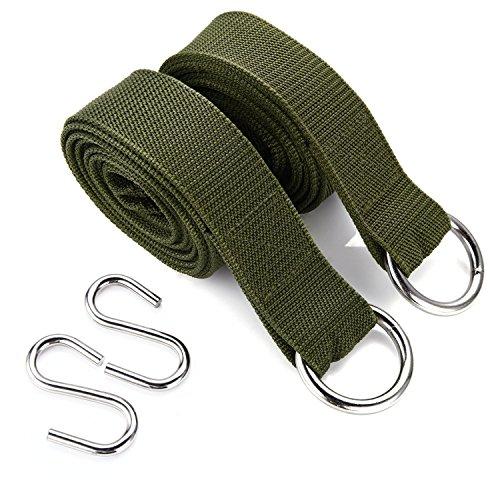 wuzmei esterni di alta qualità eco-friendly hammock Albero cinghie Hanging, (Confezione da 2)-da appendere il Kit include grande acciaio (2ganci e 2anelli)-Amaca Albero cinghie con moschettone, colore: verde militare